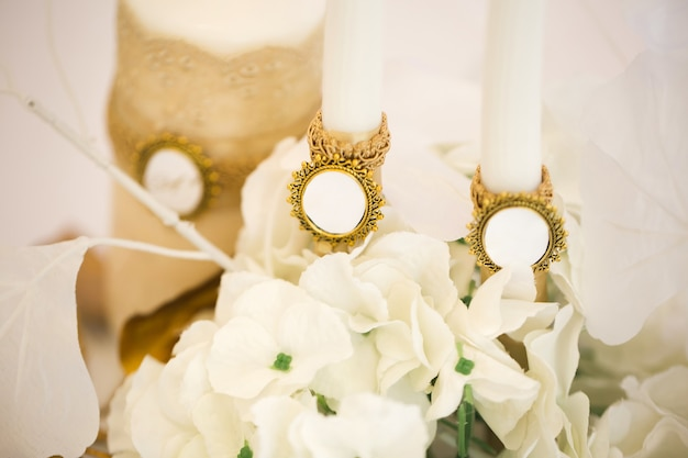 Wedding decor in white and gold style with crystals lace and flowers
