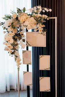 Wedding decor with natural flowers and elements