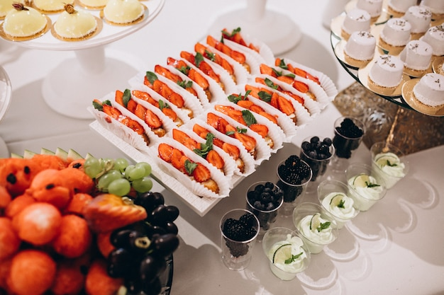 Wedding decorated dessert table in a restaurant