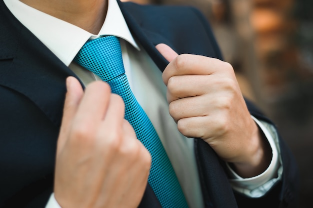 Wedding details - elegant groom dressed wedding tuxedo costume