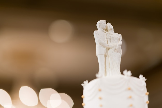 Wedding doll on cake, love couple