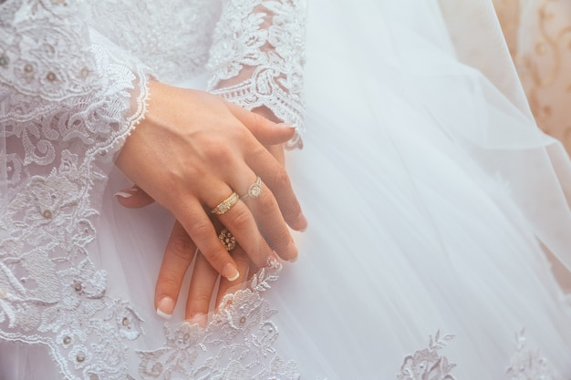 Wedding dress and bride's hands ring
