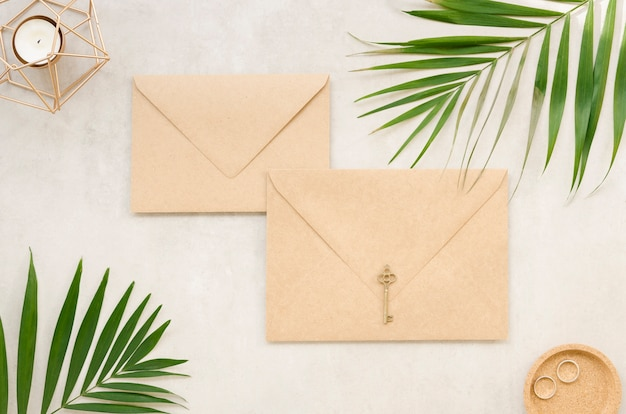 Wedding envelopes with palm leaves