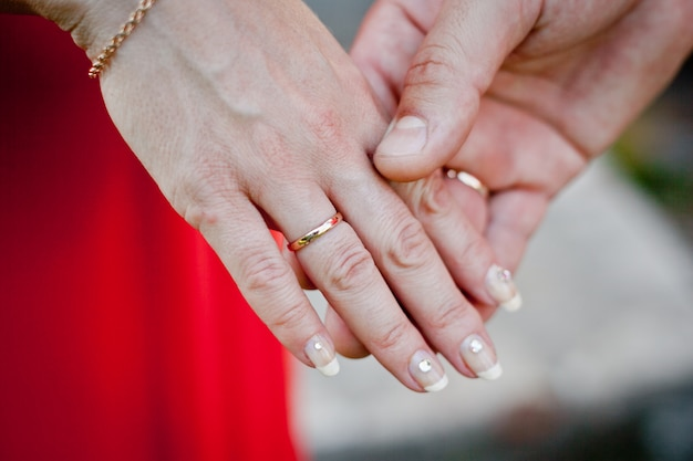 Wedding. the exchange of rings.