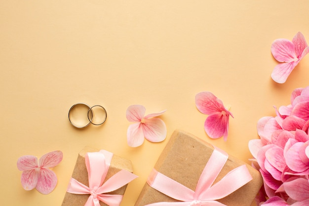 Wedding floral concept and gift boxes