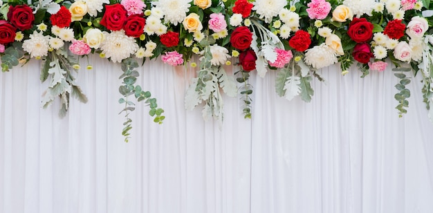 Wedding flower backdrop background, colorful background, fresh rose, bunch of flower