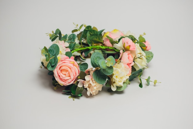 Wedding flowers crown on a white background