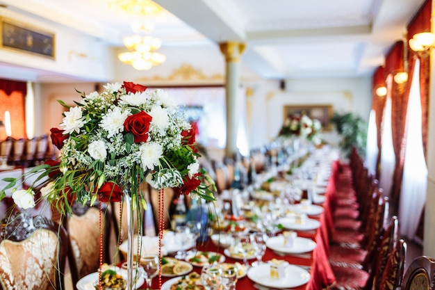 Wedding flowers decoration. wedding. banquet. decorations for the wedding ceremony.
