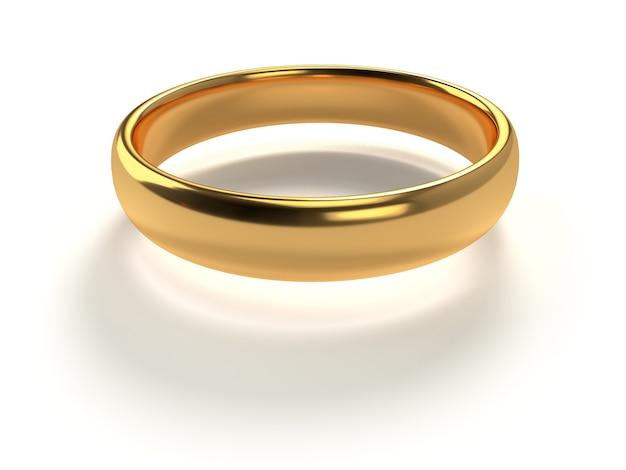 Обручальное золотое кольцо на белом фоне