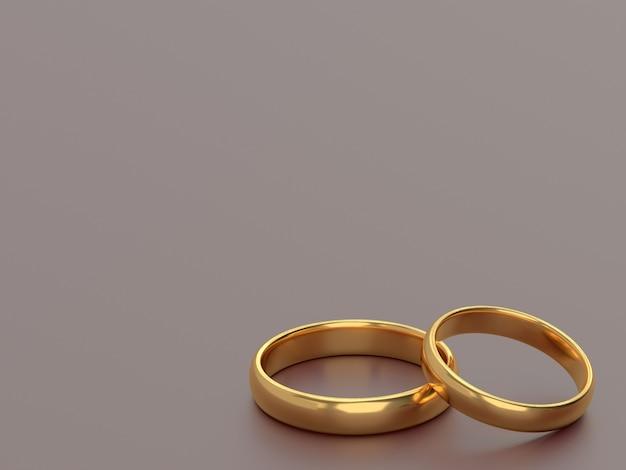 結婚式の金の指輪は隣同士にあります