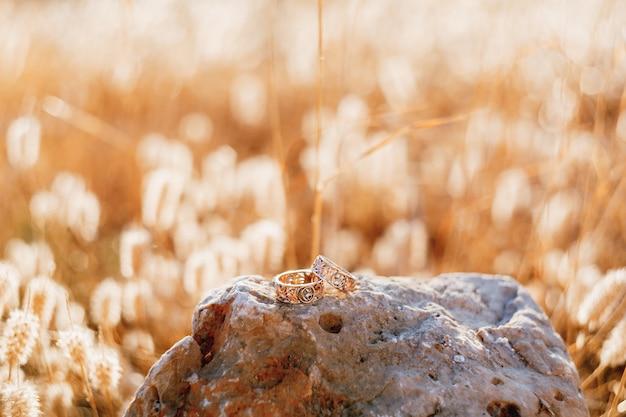 Обручальные золотые кольца с узорами на большом камне на фоне сухой травы на размытом