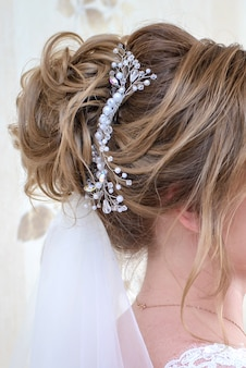 Wedding hair decoration for bride closeup