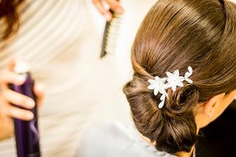 結婚式の髪に花嫁のための髪型