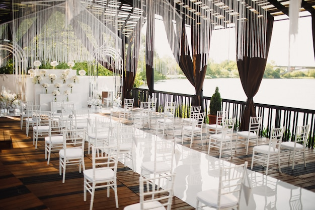 Wedding hall with a view on a lake