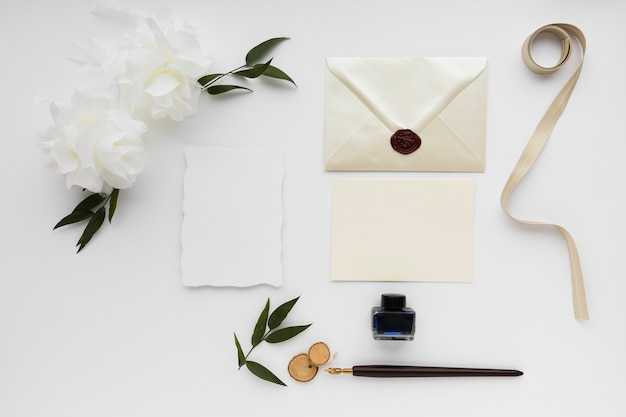 Wedding invitation card and table arrangements