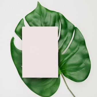 Wedding invitation card template on leaf