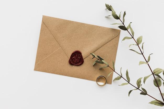 Wedding invitation card with branch
