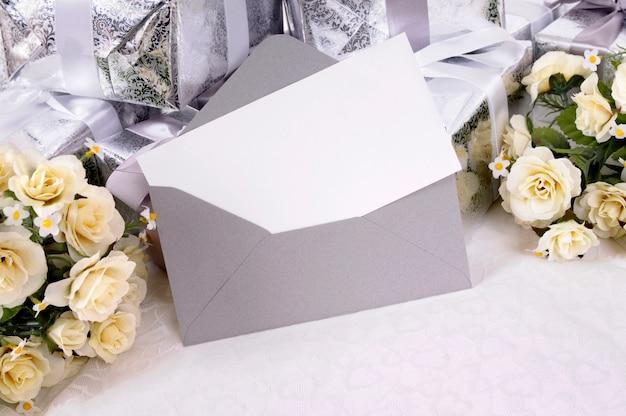 Wedding invitation in grey envelope