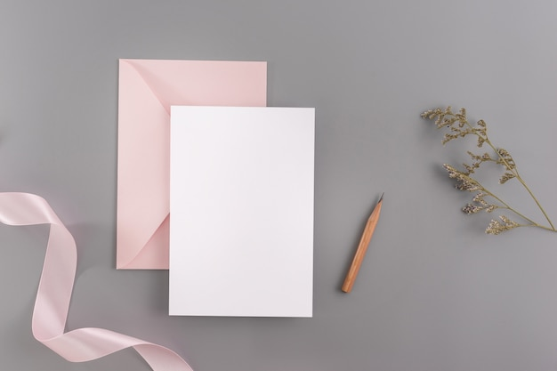 A wedding invitation mock up concept.top view, flat lay with copy space