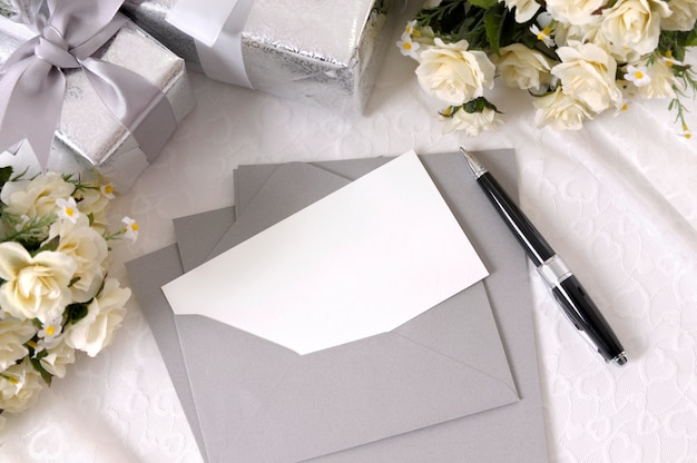 Wedding invitation and pen