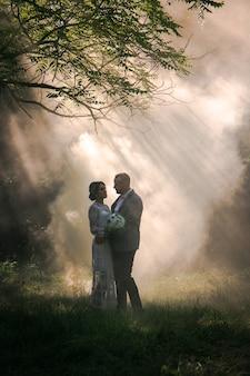霧と日光と公園でビンテージスタイルの若い美しいカップルの結婚式
