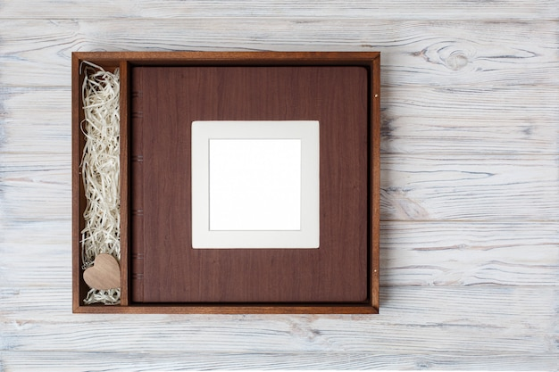 Wedding photo book with wooden box.