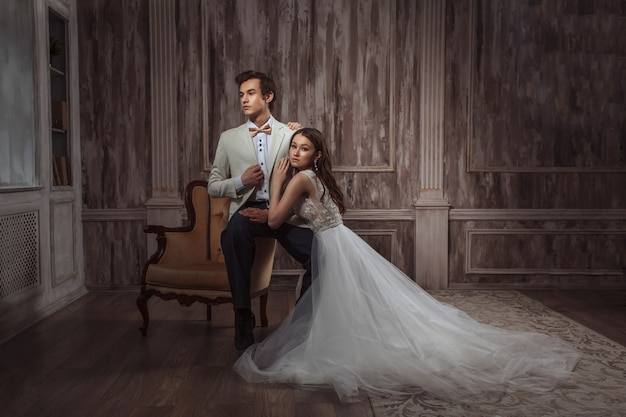 신혼 부부, 새 가족의 결혼 사진