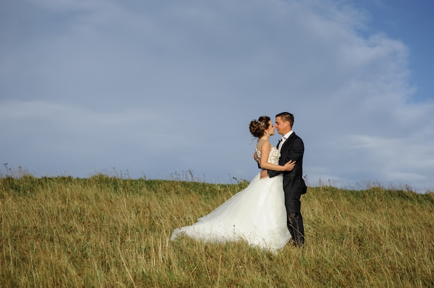 Wedding photography in the mountains. the groom hugs the bride. free space.