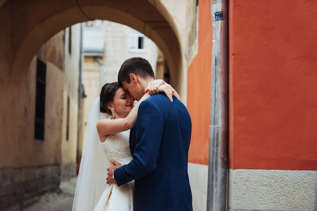 Wedding portrait of a happy couple.