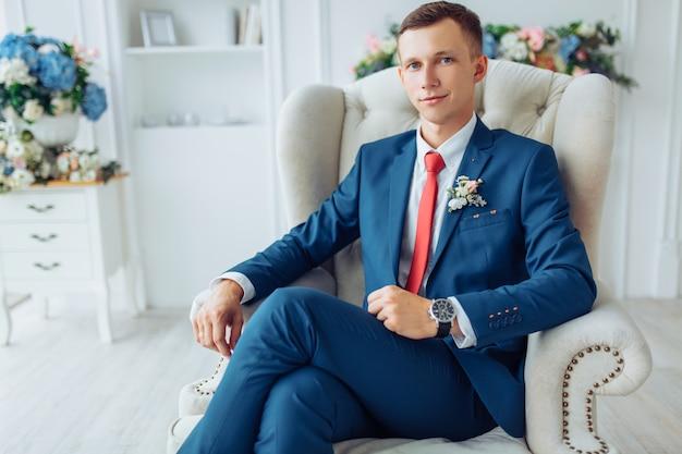 Wedding portrait of a man, a man in an elegant suit