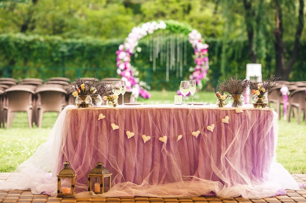 Wedding reception table for newlyweds.
