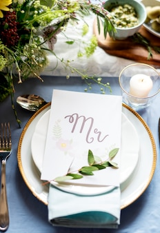 Wedding reception table setting closeup