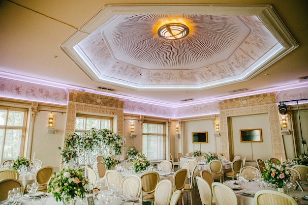 Wedding reception with a beautiful ceiling