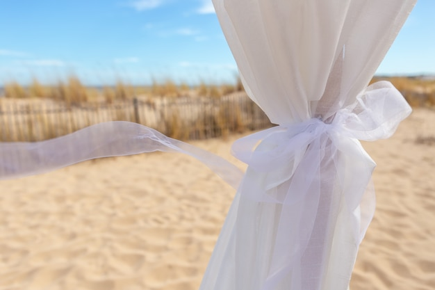Wedding ribbon in the wind.