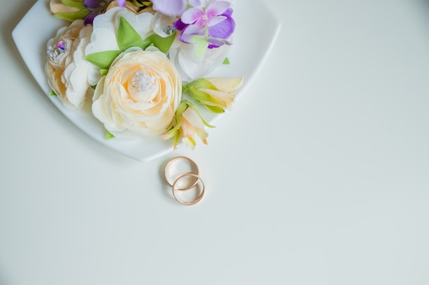 Wedding ring, beautiful bouquet,bridal accessories