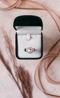 Wedding ring and box top view