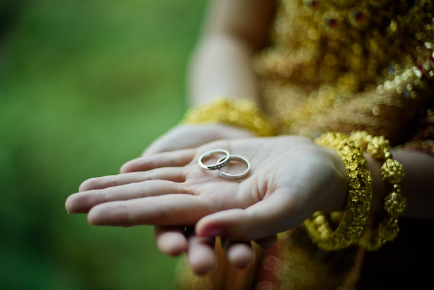 Wedding ring on bride hand