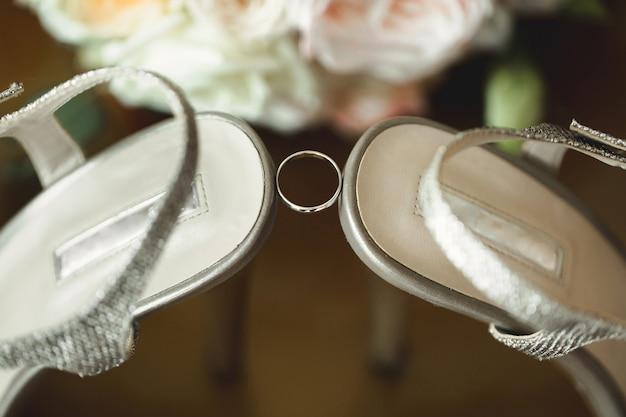 Wedding ring on bright background