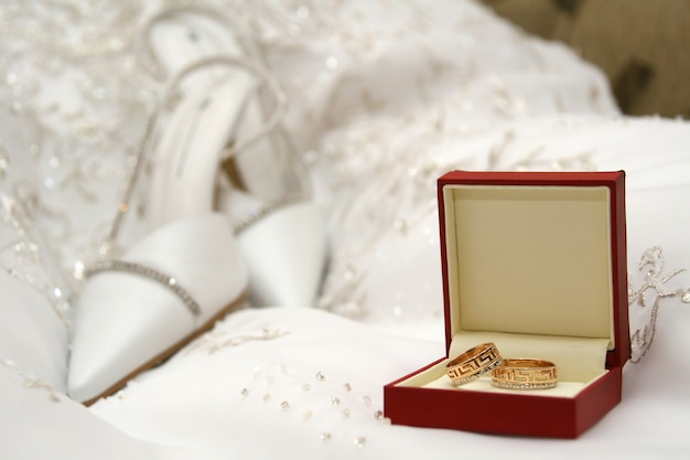 Wedding of a ring of a shoe