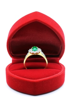 Wedding ring in silk box