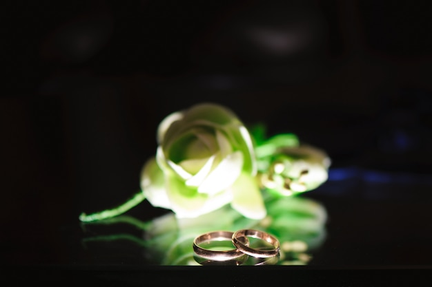 Wedding rings as a symbol of love and happyness