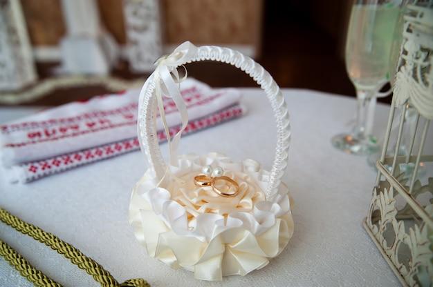 Wedding rings in a basket.