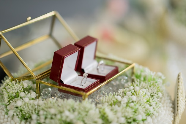 Wedding rings in a beautiful glass box on flowers with blurred background