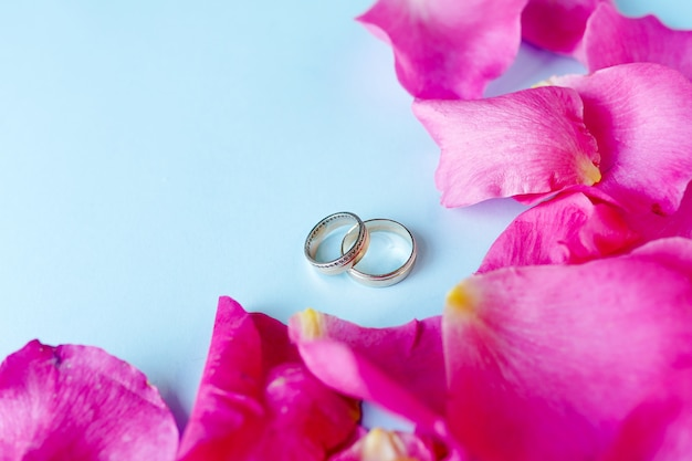 Wedding rings on blue background with flowers roses, copy space. love, marriage