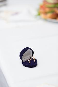 Wedding rings in blue box