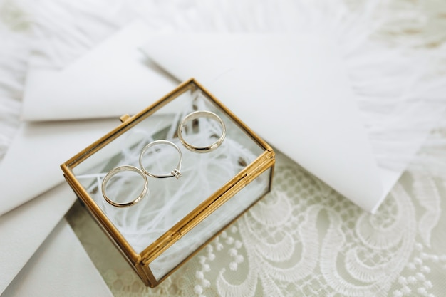 Wedding rings of the bride and groom are in a glass box
