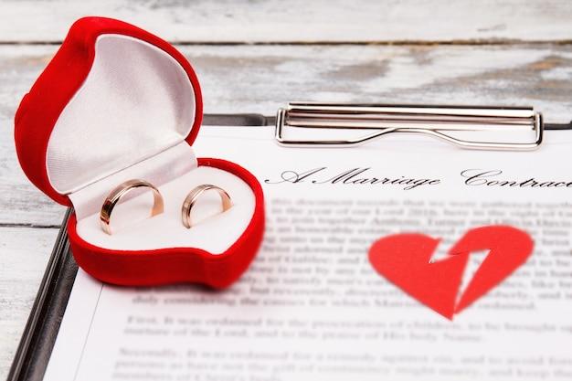 Wedding rings and broken heart. divorce breakup concept.
