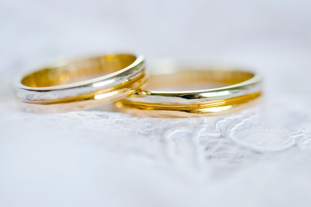 Wedding rings for engagement of bride and groom