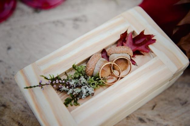 Обручальные кольца в деревянной коробке с желудями. свадебная церемония. кольца на пне.