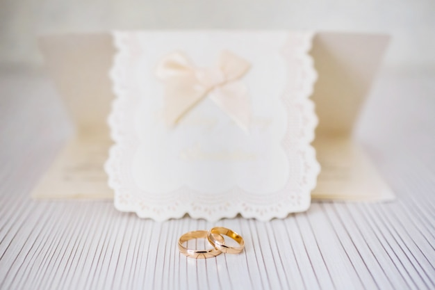Wedding rings, infinity sign of the rings, wedding rings and invitation card